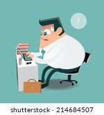 working hard on computer in the ... | Shutterstock .eps vector #214684507