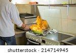 fire in a frying pan in the... | Shutterstock . vector #214714945