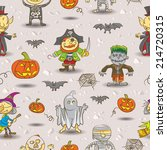 pattern seamless halloween kids | Shutterstock .eps vector #214720315
