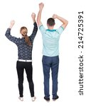 back view of  joyful couple... | Shutterstock . vector #214725391