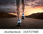 close up of athlete's legs... | Shutterstock . vector #214727485