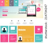 flat vector website template... | Shutterstock .eps vector #214734247
