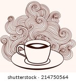 vector coffee cup with lines... | Shutterstock .eps vector #214750564