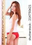 beautiful woman with slim body...   Shutterstock . vector #214750621