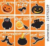 nine halloween card set | Shutterstock .eps vector #214752139