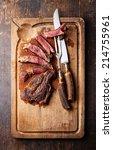 medium rare beef steak ribeye... | Shutterstock . vector #214755961