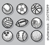 sport ball icons  hand drawn... | Shutterstock . vector #214759099
