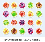set of vector icons with fruits ... | Shutterstock .eps vector #214775557