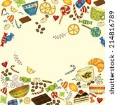 tea  coffe and sweets doodle... | Shutterstock . vector #214816789