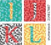 mosaic colorful alphabet set. i ... | Shutterstock .eps vector #214817887