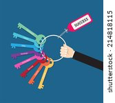 hand holding bunch of keys for... | Shutterstock .eps vector #214818115