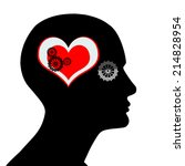 human head with  gears heart... | Shutterstock . vector #214828954