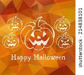 happy halloween card with... | Shutterstock .eps vector #214838101