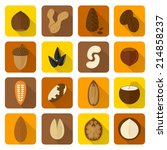 nuts icons set with walnut... | Shutterstock .eps vector #214858237