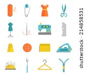 sewing equipment and...   Shutterstock .eps vector #214858531