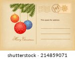 vintage christmas invitation ... | Shutterstock .eps vector #214859071