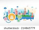 birthday cake and cityscape... | Shutterstock .eps vector #214865779