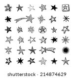 star doodles  hand drawn vector ... | Shutterstock .eps vector #214874629