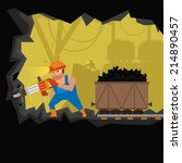 miner working in the mine. coal ... | Shutterstock .eps vector #214890457