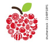 fruits icons in apple shape | Shutterstock .eps vector #214891891