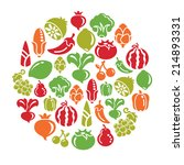 fruit and vegetable icons in... | Shutterstock .eps vector #214893331