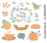 happy thanksgiving set of... | Shutterstock .eps vector #214896499