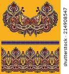 neckline ornate floral paisley...   Shutterstock .eps vector #214908547