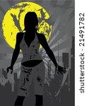 beautiful woman on grunge... | Shutterstock .eps vector #21491782