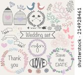 hand drawn vector wedding set | Shutterstock .eps vector #214928461