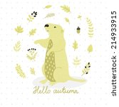 acorn,animal,autumn,baby,background,badger,berry,botanical,branch,card,character,child,cute,design,desman