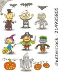 set of halloween kids | Shutterstock .eps vector #214935805