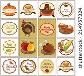 happy thanksgiving day  sixteen ... | Shutterstock .eps vector #214957324