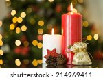 focus on christmas candles and... | Shutterstock . vector #214969411