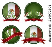 set of mexican badges with... | Shutterstock .eps vector #214972501