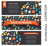 school modern flat design flyer ... | Shutterstock . vector #214987249