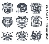 college rugby team emblem... | Shutterstock .eps vector #214991755