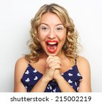beautiful young surprised blond ... | Shutterstock . vector #215002219