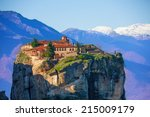 mountain monastery of the holy... | Shutterstock . vector #215009179