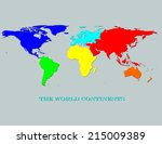 world continents map   colorful ...   Shutterstock . vector #215009389