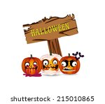 halloween pumpkins board   Shutterstock .eps vector #215010865