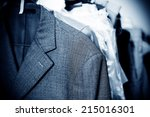 laundry  hanging on the racks... | Shutterstock . vector #215016301