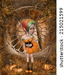 beautiful toon pumpkin girl | Shutterstock . vector #215021599