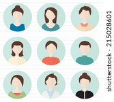 set of flat people's face.... | Shutterstock .eps vector #215028601