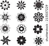 black white flowers  flowers... | Shutterstock .eps vector #215037229