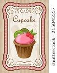 vintage cupcake poster. vector... | Shutterstock .eps vector #215045557