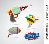 ray gun cartoon. supergun.