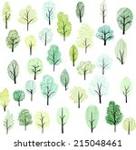set of different doodle trees ... | Shutterstock .eps vector #215048461