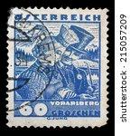 austria   circa 1932  stamp... | Shutterstock . vector #215057209