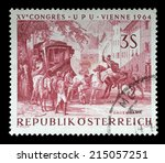 austria   circa 1964  a stamp... | Shutterstock . vector #215057251