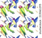 watercolor birds. seamless... | Shutterstock . vector #215061295